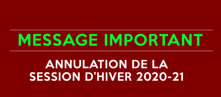 annulation session hiver 20-21